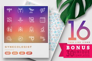 Gynecologist Icons Set | 30 Template