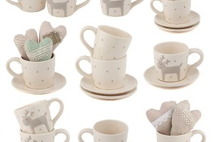 Collage from beige cups with plates
