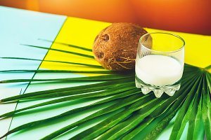 palm leaf. a glass with milk, coconu