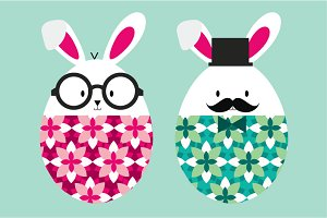 easter rabbits/bunnies vector