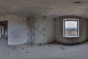 Kharkov Ukraine - 03 January 2018: Full 360 degree view of the interior of Abandoned house