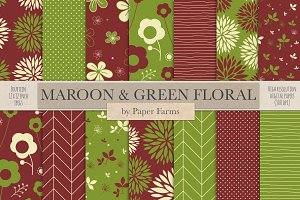Maroon and green patterns