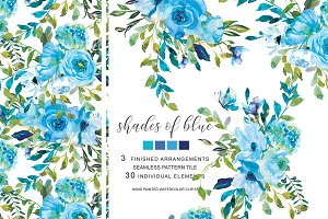 Watercolor Blue Florals
