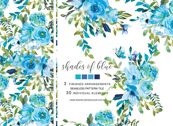 40% OFF Watercolor Blue Florals