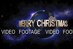 Merry Christmas title - the Earth from space showing all they beauty