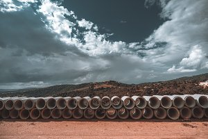 Multiple soil-pipes on the ground