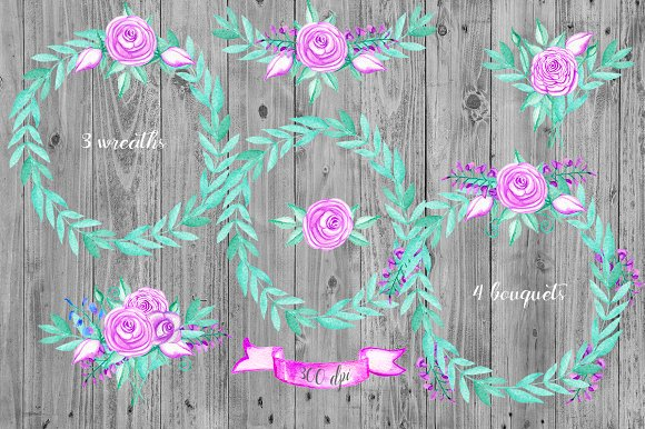 Watercolor flowers clip art. Lamp  in Illustrations - product preview 1