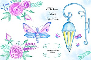 Watercolor flowers clip art. Lamp