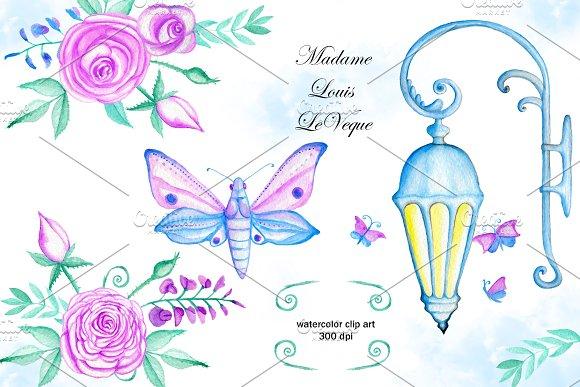 Watercolor flowers clip art. Lamp  in Illustrations