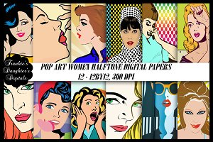 Comic Pop Art Women Digital Papers