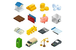 Isometric Business and Finance Icons.