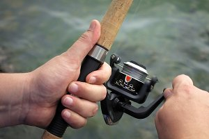 Fishing reel closeup