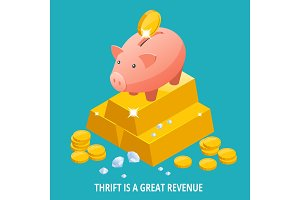 Isometric Piggy bank, gold bullion, diamond and coins icon.