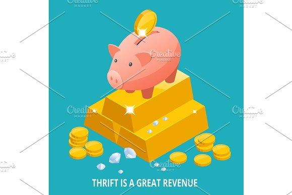 Isometric Piggy Bank Gold Bullion Diamond And Coins Icon