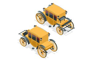 Isometric retro Coaches, Brougham icon.