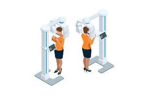 Isometric Detail Dental Panoramic Radiograph equipment and woman
