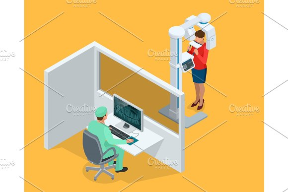 Isometric Detail Dental Panoramic Radiograph equipment, doctor and woman