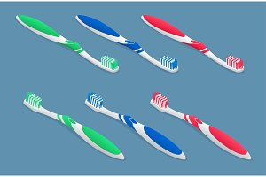 Set of isometric Toothbrushes on light background. Flat 3d vector illustration.