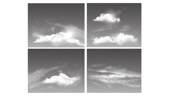 Set Of Transparent Sky Amd Clouds