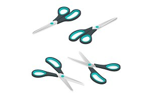 Scissors icon isometric set. Blue scissors.