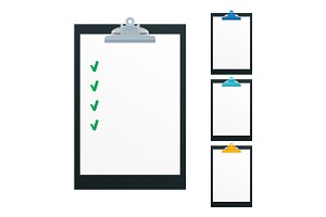 Blank paper on black clipboard with copy space