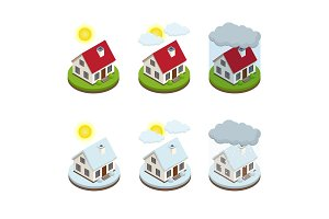 House insurance business service isometric icons template. Security of property.