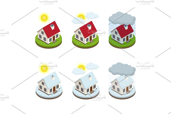 House Insurance Business Service Isometric Icons Template Security Of Property