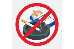 No smoking sign on white background. Sign forbidding smoking. Healthy lifestyle.