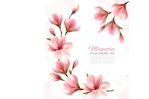 Beautiful magnolia branches. Vector.