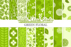 Green Floral digital paper