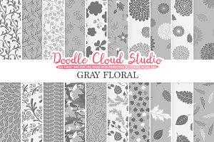 Gray Floral digital paper.