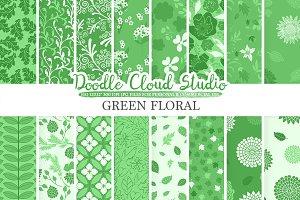 Dark Green Floral digital paper.