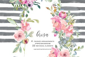 Watercolor Blush Flowers Clip Art