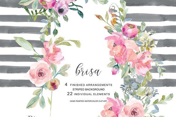 Watercolor Blush Flowers Clip Art