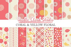 Coral and Yellow Floral digital
