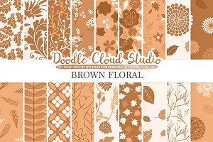 Brown Floral digital paper.