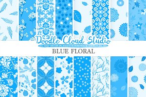 Blue Floral digital paper.