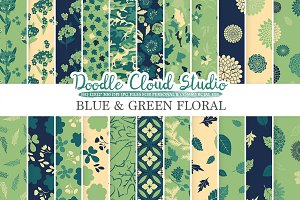 Blue and Green Floral digital paper.