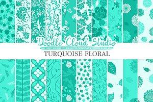 Aqua Floral digital paper Turquoise