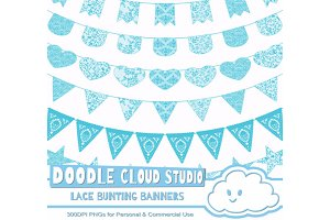 Turquoise Lace Burlap Bunting Banner