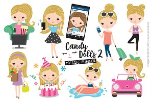 Cute Blonde Girl Planner Vector