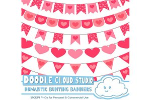 Romantic Bunting Banners Cliparts