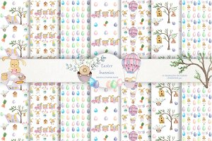 Easter bunnies digital paper pack