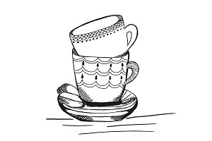 tea cups in sketch style, hand drawn