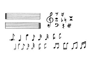 music notes in sketch style, hand