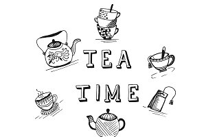 Tea time concept in sketch style