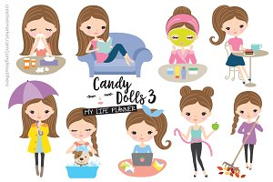 Girl Lifestyle Illustration Set