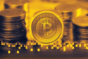 Bitcoin sign icon for internet money