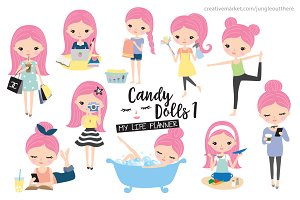 Cute Girl Life Planner Illustration