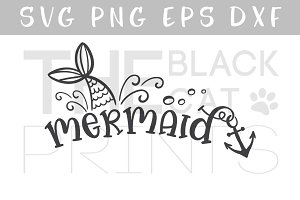 Mermaid SVG DXF PNG EPS